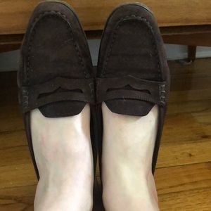 Chocolate brown suede Tod's loafers